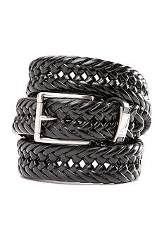 Nautica Leather Handlace Basket Weave Braided Dress Belt