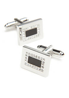 Geoffrey Beene Rhodium Rectangle Black Crystal Center Cufflinks