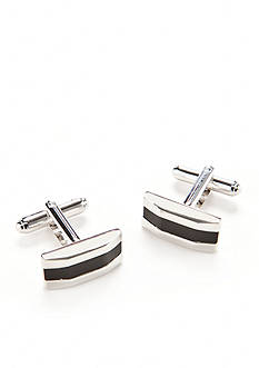 Geoffrey Beene Bowed Polished Rhodium with Black Onyx Center Cufflinks