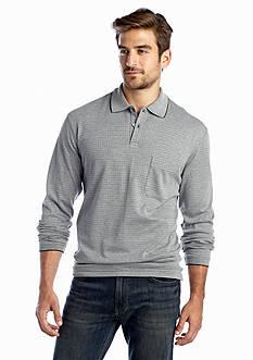 Saddlebred® Long Sleeve Windowpane Polo