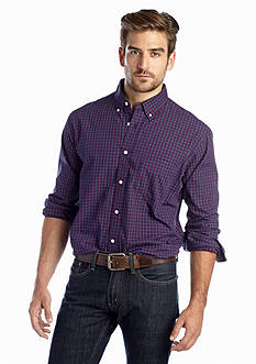 Saddlebred® Long Sleeve Plaid Poplin Shirt