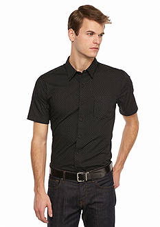 Saddlebred 1888 Short Sleeve Tailored Fit Dot Print Woven Shirt