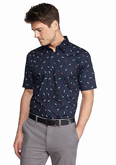 Saddlebred 1888 Short Sleeve Tailored Fit Sunglasses Print Woven Shirt