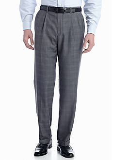 Louis Raphael Classic-Fit Pleated Non-Iron Sharkskin Plaid Windowpane Dress Pants