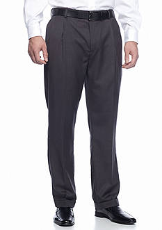 Louis Raphael Big & Tall Tailored Super 150's Polyester Viscose Herringbone Pleated Pants