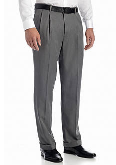 Louis Raphael Big & Tall Ultimo Melange Microfiber Hidden Extension Comfort Waist Pleated Pant