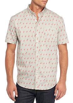 Retrofit Short Sleeve Flamingo Print Woven Shirt