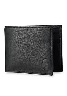 Polo Ralph Lauren Pebbled Leather Window Billfold Wallet