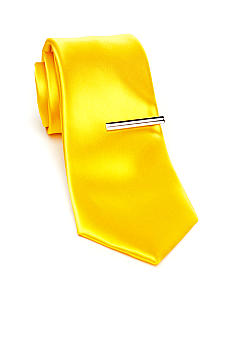 Madison Slim Solid Tie with Tie Bar