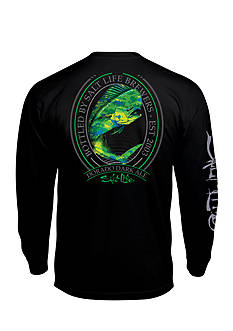 Salt Life Long Sleeve Pocket Dorado Dark Ale Graphic Tee