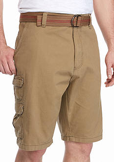 Plugg™ Big & Tall Highland Belted Stacked Pocket Twill Cargo Shorts
