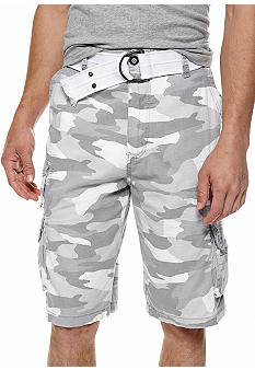 Plugg Beacon Belted Ripstop Cargo Shorts with Grommet Detail