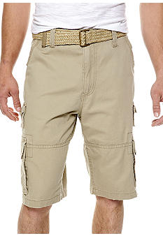 Plugg Canyon Belted Stacked Pocket Twill Cargo Shorts