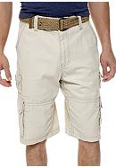 Plugg™ Canyon Belted Stacked Pocket Twill Cargo Shorts