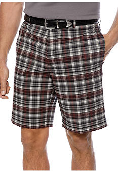 Greg Norman Collection Plaid Flat Front Tech Shorts