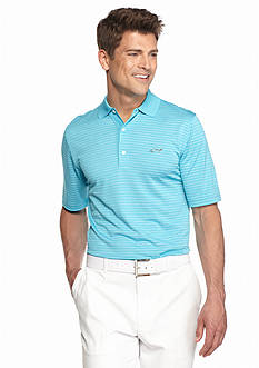 Greg Norman Collection Promo Stripe Shark On Chest Polo Shirt