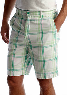 Saddlebred® Classic Fit Flat Front Plaid Shorts