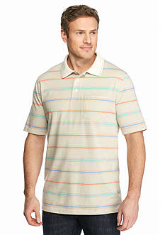 Saddlebred Big & Tall Short Sleeve Striped Jersey Polo Shirt