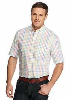 Saddlebred Big & Tall Easy Care Plaid Short Sleeve Shirt