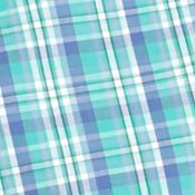 Non Iron: Casual Shirts: Turquoise Plaid Saddlebred Big & Tall Short Sleeve Easy Care Plaid Shirt