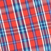 Non Iron: Casual Shirts: Orange Plaid Saddlebred Big & Tall Short Sleeve Easy Care Plaid Shirt