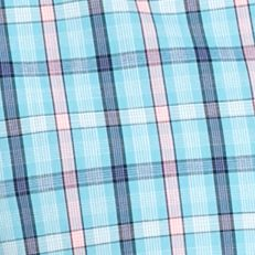 Non Iron: Casual Shirts: Aqua Pink Plaid Saddlebred Big & Tall Short Sleeve Easy Care Plaid Shirt