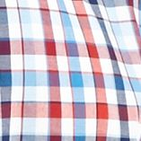 St Patricks Day Outfits For Men: Blue/ Red Saddlebred Short Sleeve Wrinkle Free Plaid Woven Shirt