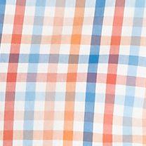 St Patricks Day Outfits For Men: Orange Gingham Saddlebred  1888 Long Sleeve Tailored Fit Gingham Poplin Woven Shirt