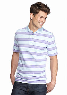 Saddlebred Short Sleeve Wide Stripe Jersey Polo Shirt