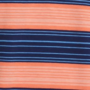 Men: Saddlebred Polo Shirts: Orange/Navy Saddlebred Short Sleeve Wide Stripe Jersey Polo Shirt