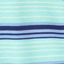 Men: Saddlebred Polo Shirts: Turquoise/Navy Saddlebred Short Sleeve Stripe Pique Polo Shirt