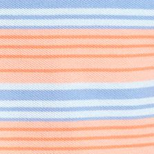 Men: Short Sleeves Sale: Peach/Blue Saddlebred Short Sleeve Stripe Pique Polo Shirt