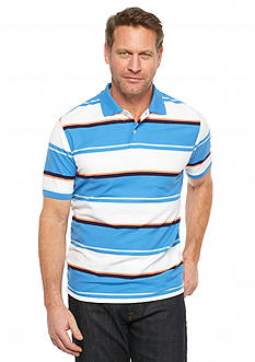 Saddlebred Short Sleeve Wide Stripe Pique Polo Shirt