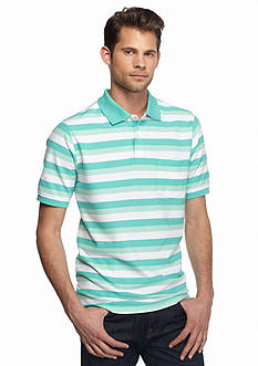 Saddlebred Short Sleeve Stripe Pocket Pique Polo Shirt