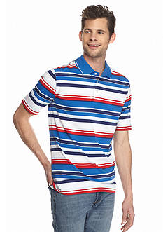 Saddlebred Short Sleeve Large Multi Stripe Jersey Polo Shirt