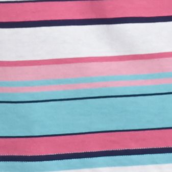 Saddlebred Men: Turquoise/Pink/Blue Saddlebred Short Sleeve Large Multi Stripe Jersey Polo Shirt