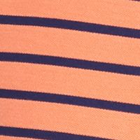 Men: Saddlebred Polo Shirts: Orange/Navy Saddlebred 1888 Tailored Fit Stripe Pique Polo Shirt