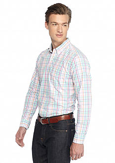 Saddlebred 1888 Long-Sleeve Tailored Poplin Plaid Shirt