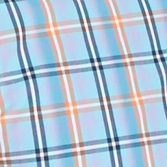 Men: Saddlebred Casual Shirts: Blue/Orange Saddlebred 1888 Tailored Poplin Plaid Shirt