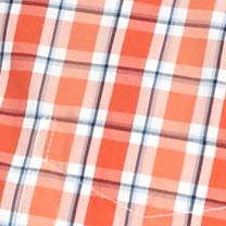 Mens Casual Shirts: Check & Plaid: Orange/White Saddlebred 1888 Tailored Poplin Plaid Shirt