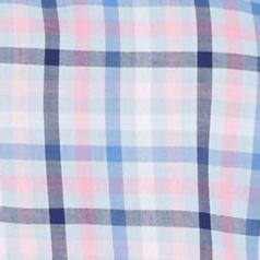 Men: Saddlebred Casual Shirts: Pink/Blue Saddlebred Short Sleeve Gingham Woven Shirt