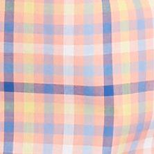 Men: Saddlebred Trends: Peach/Blue Saddlebred Short Sleeve Gingham Woven Shirt