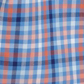 Men: Saddlebred Casual Shirts: Blue/Navy/Orange Saddlebred Short Sleeve Gingham Woven Shirt
