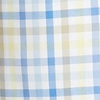 Non Iron: Casual Shirts: White/Yellow Saddlebred Short Sleeve Easy Care Gingham Woven Shirt