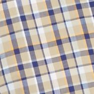 Non Iron: Casual Shirts: Khaki/Blue Saddlebred Short Sleeve Wrinkle Free Medium Plaid Shirt