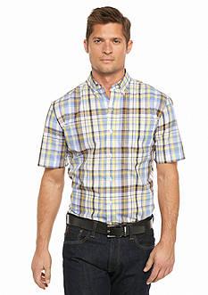 Saddlebred Short Sleeve Wrinkle Free Medium Plaid Shirt