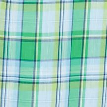 Non Iron: Casual Shirts: Green/Blue Saddlebred Short Sleeve Wrinkle Free Medium Plaid Shirt