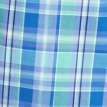 Non Iron: Casual Shirts: Blue/Green/Purple Saddlebred Short Sleeve Wrinkle Free Medium Plaid Shirt