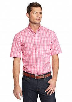 Saddlebred Short Sleeve Easy Care Tonal Plaid Woven Shirt