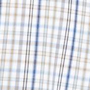 Men: Saddlebred Casual Shirts: Khaki/Blue Saddlebred Short Sleeve Easy Care Mini Grid Woven Shirt
